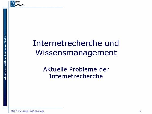 Probleme der Internetrecherche