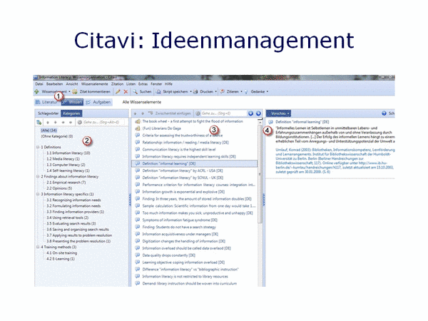 Citavi: Ideenmanagement