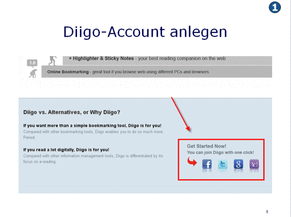 Diigo Account mit bestehenden Nutzerdaten anlegen