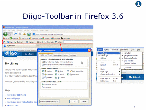 Diigo Toolbar in Firefox 3.6