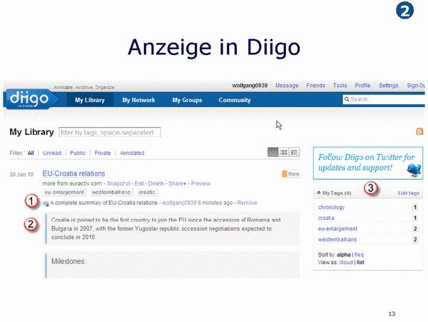 Anzeige in Diigo