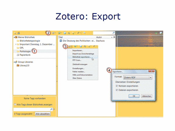 Zotero: Export