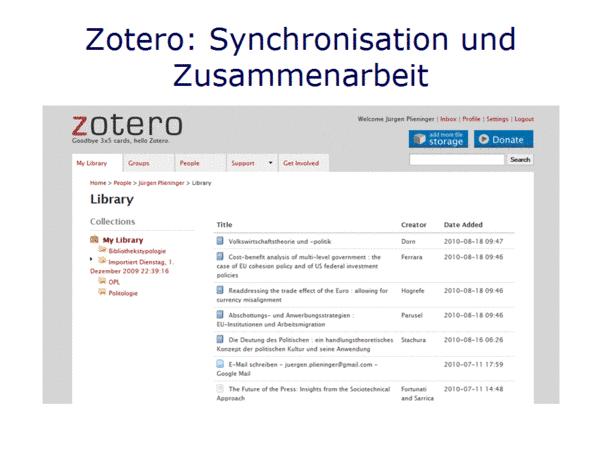 Zotero: Synchronisation