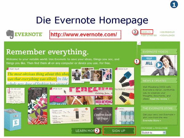 Evernote einrichten
