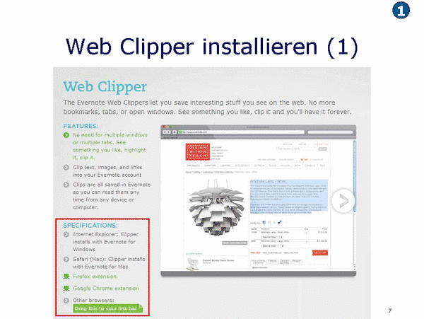 Web Clipper installieren