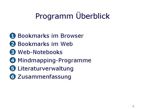 Überblick zum Programm des Moduls