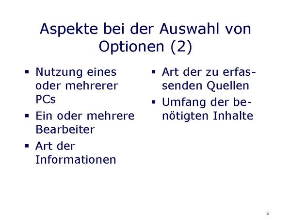 Kriterien für Optionsauswahl