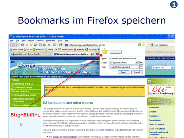 Bookmarks in Firefox speichern