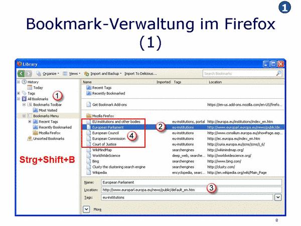 Bookmark Verwaltung mit Firefox