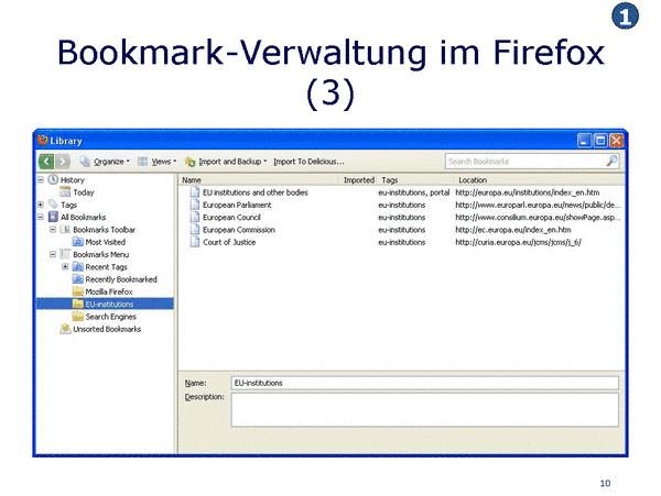 Bookmark Verwaltung in Firefox
