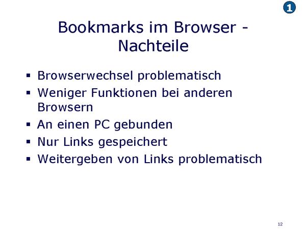 Bookmarks im Browser Nachteile