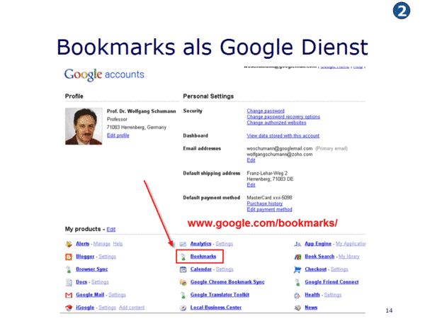 Bookmarks als Google Dienst