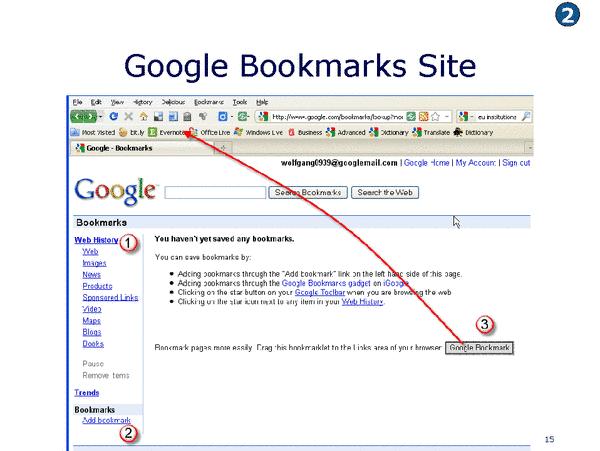 Google Bookmarks Hauptseite