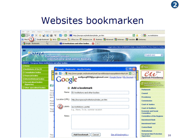 Websites bookmarken