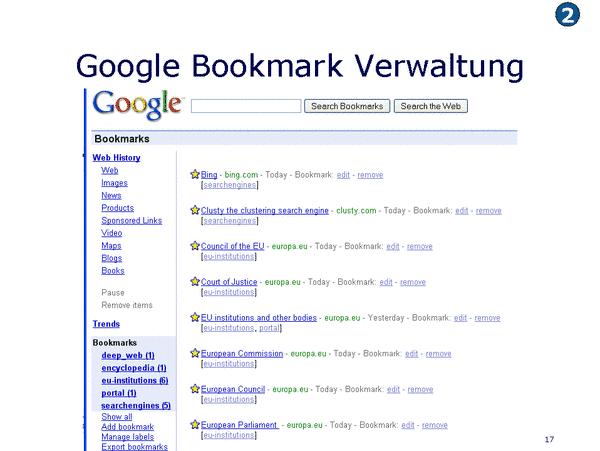 Google Bookmarks Verwaltung