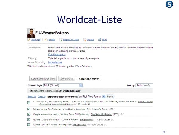 Worldcat-Liste