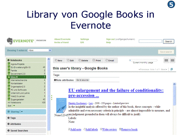 Library von Google Books in Evernote
