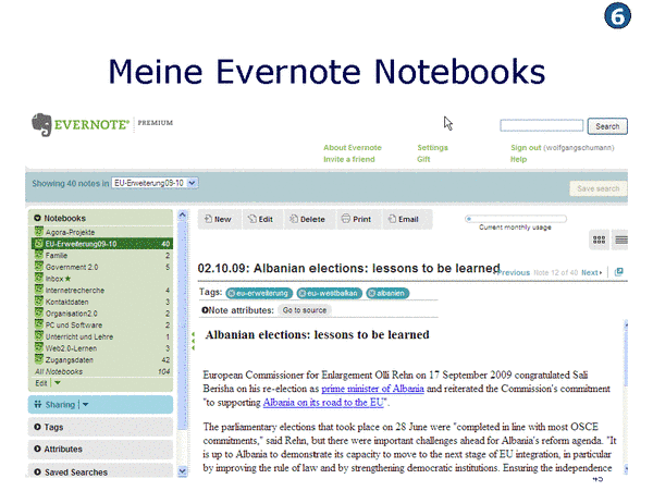 Meine Evernote Notebooks